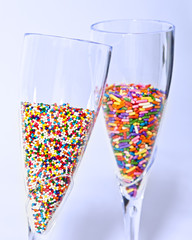 Multicolored Sprinkles in Champagne
