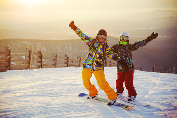 Happy snowboarding team