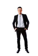 Full-length portrait of a smiling businessman
