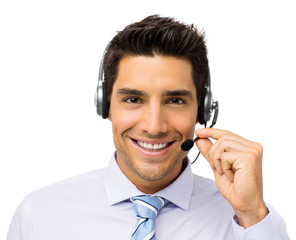 Smiling Customer Service Representative Talking On Headset