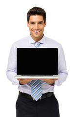 Happy Businessman Promoting Laptop