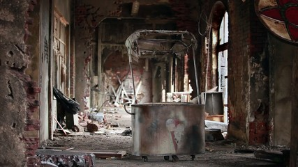 ice cream trolley in the ruins ghost town