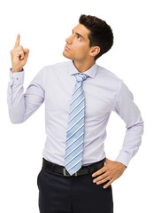 Young Businessman Pointing Upwards