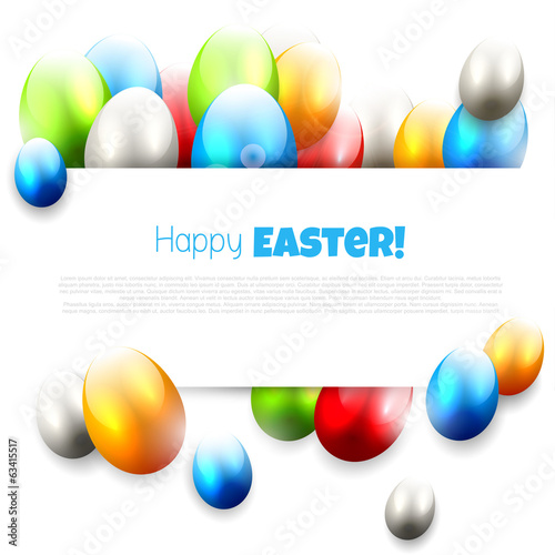Easter background with colorful eggs and place for text