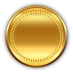 Event background. Shiny round golden medal with shadow. Vector.