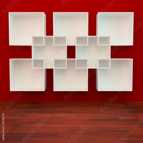 White book Shelf on red Background