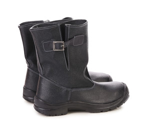 Black leather high boots.