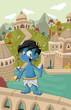 Cartoon blue indian boy in front of a old city