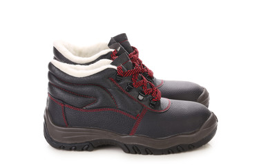 Black boots with red laces.
