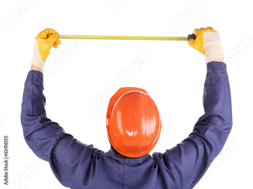 Man in construction helmet.