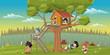 Cute happy cartoon kids playing in house tree on the backyard