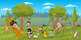 Fototapety Cute happy cartoon kids playing in playground on the backyard