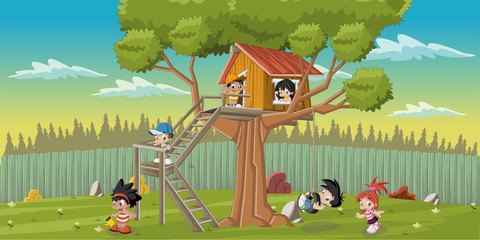 Cute happy cartoon kids playing in house tree on the backyard