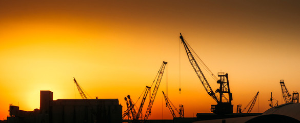 Construction cranes on industry production site with warm sunset