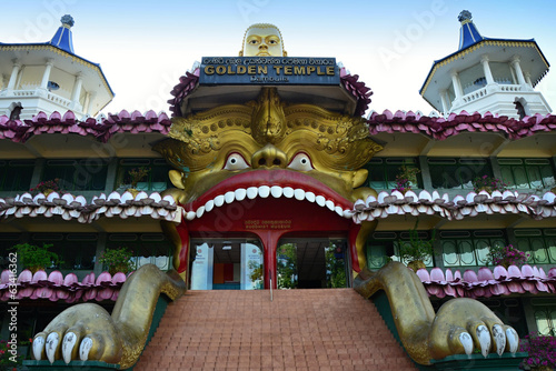 Temple with gold Buddha in  Dambulla
