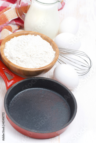 ingredients and frying pan for a batch of pancakes
