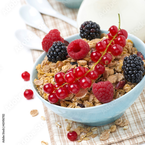 muesli with fresh berries and milk, close-up