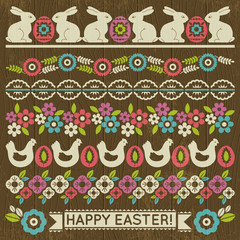 Set of Lace Paper with flower and easter eggs, vector