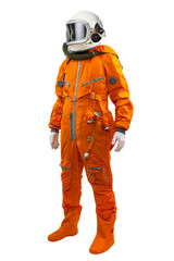 Astronaut wearing space suit standing against white background.