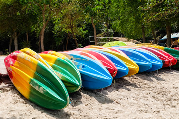 Colourful canoe on the beach