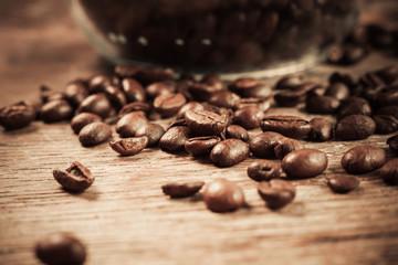 Closeup on coffee beans