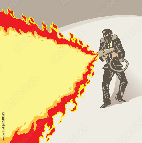 Stylized businessman with flame thrower