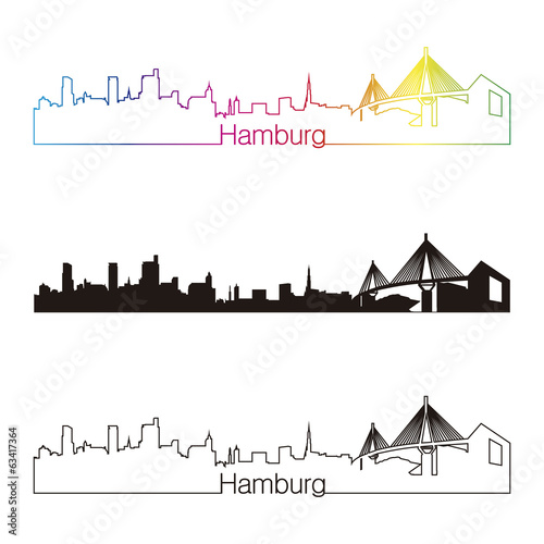 Hamburg skyline linear style with rainbow