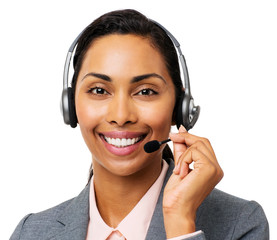 Confident Call Center Representative Wearing Headset