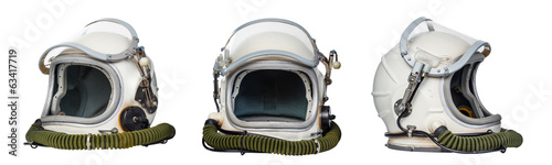 Fotobehang Nasa Set of space helmets isolated on a white background.