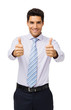 Confident Businessman Showing Thumbs Up