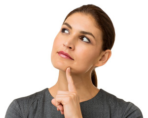 Thoughtful Businesswoman Over White Background