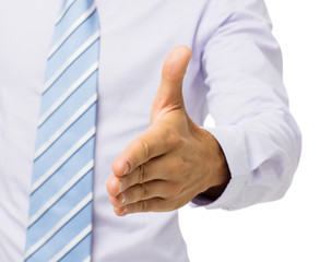 Close-Up Of Businessman Gesturing Handshake
