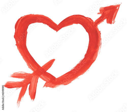 Hand painted heart with arrow isolated