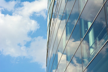 Architecture with Sky and Cloud Reflection