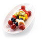 Fresh healthy tropical fruit kebabs