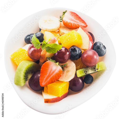 Fresh tropical fruit salad in a bowl