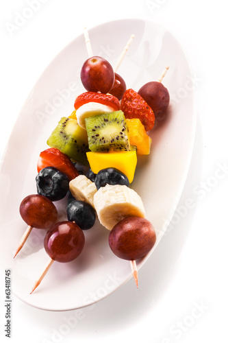 Healthy tropical fruit kebabs