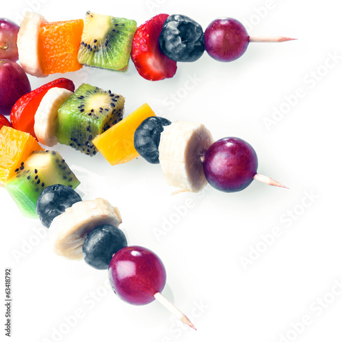 Trio of colourful tropical fruit kebabs