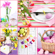 Easter collage with easter eggs and table setting