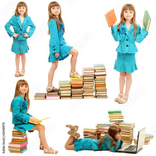 Little girl with books isolated on white