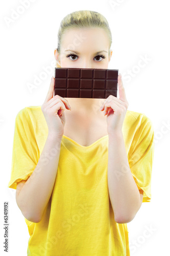 Girl with bar of chocolate