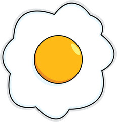 Cartoon Sunny Side Up Egg