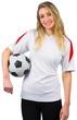 Pretty football fan in white smiling
