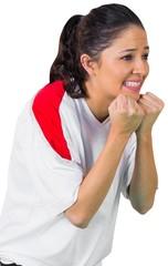 Nervous football fan in white