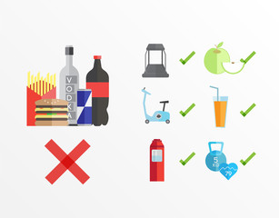 Dieting and fitness guidelines vector
