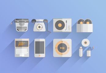 Media devices over the years vector