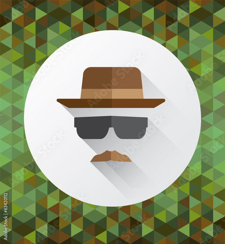 Hat mustache and sunglasses vector