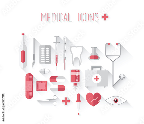 Medical icons in red and grey vector