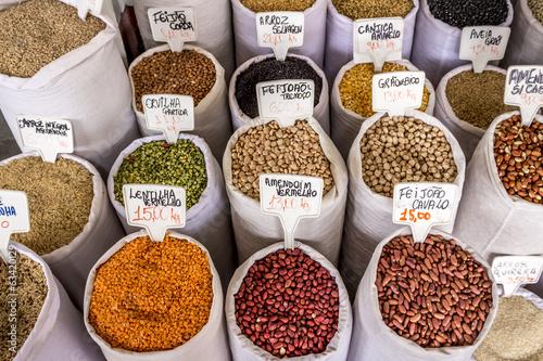 Papiers peints Amérique du Sud Bags of Grains for Sale at a Street Market
