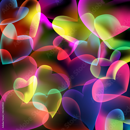 Bubbles hearts abstract background